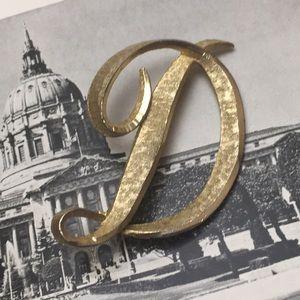 Vintage D Initial Brooch